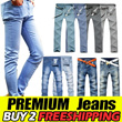 ★[BUY 2/FREE shipping]trendy men jeans★mens denim pants shorts blue jeans pants straight skinny washing vitage casual wear brand new long slim pant three quarter trousers clothing etc