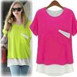 [BUY 2 FREE SHIPPING]2014 Fashion Lady Plus Size T-Shirts/ Loose Casual short-sleeve/ Long Chiffon T-shirts / BIG Size/ FLAT PRICE