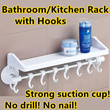 【New Arrival Special Offer! 1 week only!】【Kitchen/Bathroom Suction Cup Storage Rack with Hooks/Organizer】Strong Suction Cup*Easy installation*Long Life*No drill No nail