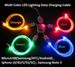 Multi Color LED Lighting Data Charging Cable Micro USB / Samsung / HTC / Android / Samsung Note 3 / Iphone 4/4S/5/5S/5C