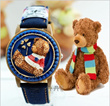 New Quartz Watch Flip Teddy Bear Watch Lovely Design Free Shipping Good Xmas Gift