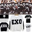 2014 EXO Long T-shirt Round Hoodies / Famous Slimilar T-shirt/EXO Member Team Uniform/pure cotton hoodies/cuople t-shirt/Lovers hoodies/EXO words