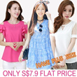 ONLY S$7.9 Flat Price New Arrivals Plus Size  Dresses chiffon Tops