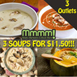 Mmmm! Launch Special 3 SOUPS for $11.50! (Ready to eat)(Frozen)(500G/PKT)(RETAIL PRICE $13.50)