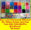 ★Special promotion!Buy 1(4400 pcs band)Deluxe rainbow loom kit Free another 1200pcs band at 12.90 only! Total 5600PCs!!!