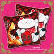 "2PCS PACK (LC88-08-2X) - CNY Maneki Neko Lucky Cat ""迎福进门"" Auspicious Cushion with net mesh carrier (13.5 X 13.5inch)"