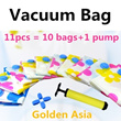 Storage bags one set 10pieces vacuum compressed bags with hand pump quilt clothing storage bag vacuum bag