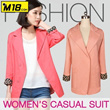 【M18】 Women's casual suit/Korean fashion/ candy color and floral cuff decoration/elegant and beautiful/slim-fitting and  high quality