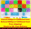 ★Buy 1 get Free rainbow color rubber band!Classic(600pcs)/deluxe loom(4400pcs) band Bracelet Making Kit / Refill Rubber Band -Free Shipping.
