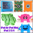 Cute Kids Shock Proof Drop Resistance Cover Case Stand Protective Casing EVA Foam Handle Stand Back Shell Cases for iPad Mini iPad2 3 4 iPad Air iPad Mini Retina Mini2 Safe Covers for Children