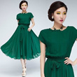GREEN WOMENS MAXI CHIC CHIFFON BELT LONG BALL PARTY GOWN DRESS EVENING SKIRT
