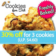 30% off for 3 cookies (U.P. $4.60) at Cookies for Sid