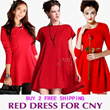 2015 New Arrival Red Dress For CNY /Festive Winter Dress/Tops/Work Dress /Party dress Plus Size S~5XL