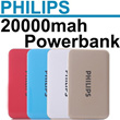 PHILIPS 20000mAh Super Slim Power Bank Universal Portable Charger External Backup Powerbank For iphone Samsung Xiaomi Android Smartphone