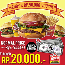 [Time Sale Event] Wendys Rp.50000 Voucher 60% OFF!