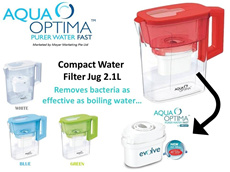 [Aqua Optima] Compact Water Filter Jug cum Fridge Jug 2.1L BPA FREE(Removes Bacteria as Effective as Boiling Water)