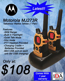 Motorola Walkie Talkie com set. Outdoor / Indoor (IDA Approved for Use in Singapore) USB charging option!