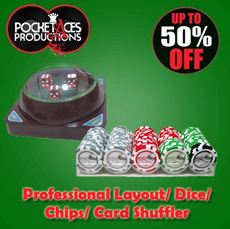 Up to 70% OFF!! POCKET ACES ~ Casino games...Professional Layout/ Dice/ Chips/ Card Shuffler [NEW YEAR PROMOTION]