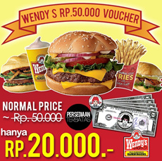 [Superday Event] Only Rp20000 ! Wendys Voucher Rp50000