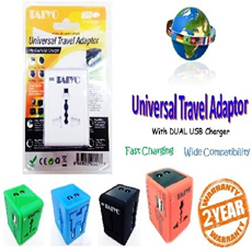 TAIYO Universal Travel Adaptor with Dual USB Charger - Approved for use in Singapore! Available in variant colors~