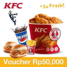 [Time Sale Event] KFC Rp.50000 Voucher 50% OFF!