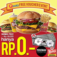 [3rd Time Sale Event] *ONLY FOR 50 WINNERS* Free Wendys Voucher Rp50000!