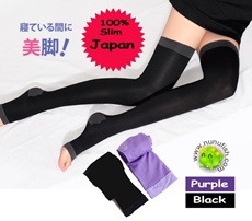 Genuine Japan 420D Overnight Slimming Compression Socks Stocking legging leg shaper(Purple or Black)