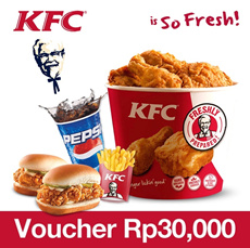 [Time Sale Event] KFC Rp.30.000 Voucher 33% OFF!