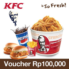 [28 May Time Sale] KFC Rp.100.000 Voucher 30% OFF!