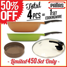 ★Hot Deal 50%off★4pcs Pallas frying pan+chowder pan+steam pot+standing cover/450set limited offer! L