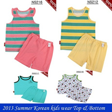 2013 Summer Kids children wear Top/Bottom set sleevelessT-shirt cotton100% Korea cloth