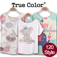 ★Flat Price★Design By Korea True Color Short sleeved T-shirt Unique printing High quality cotton Women T-shirt / Buy 2 or more 1 Shipping Charge!