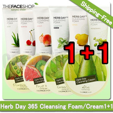 [The Face Shop]HERB DAY 365 CLEANSING FOAM/CREAM★1+1★