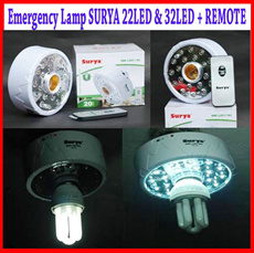 EMERGENCY LAMP SURYA 22LED and 32LED + Fitting + REMOTE ~ Must Have..!!! ~