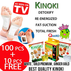 [100pcs + FREE 10pcs]KINOKI WHITE|GOLD PREMIUM|GINGER+SALT DETOX FOOT PATCH-HIGHLY RECOMMENDED