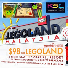 $98 for 2D1N Johor Bahru 5 Star Hotel Stay + Admission to Legoland !!!