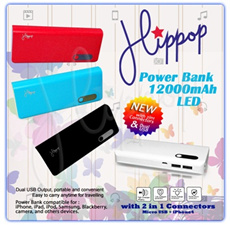 Power Bank 12000mAh LED HIPPOP