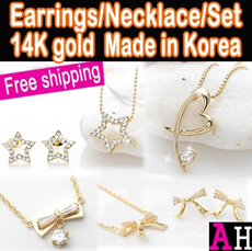 14kgp earrings/necklace/set Made in Korea Free shipping High quality fashion jewelry gift set