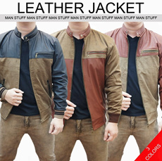 MEN STYLE_LEATHER JACKET_3 TYPES (COLORS)