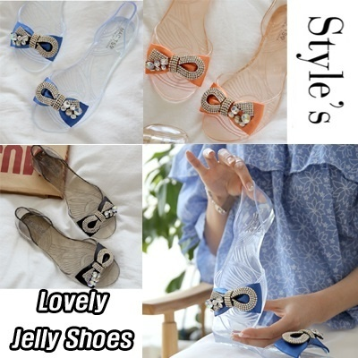 ★New arrivals★Flat Price Best Jelly Shoes Special★988-22 Lovely transparent ribbon jelly shoes Luxury Style Design Made in Korea flat shoes European-style Womens Shoes Fashion shoes