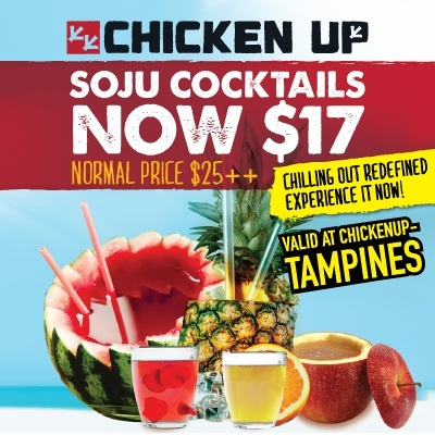 [CHICKEN UP] 40% OFF!!! Soju Cocktail Launch Special.Premium Soju Cocktails (Pear Peach Yakult Bukbunja Sangria Apple Pineapple and Watermelon). Follow our Qoo10 Store for upcoming deals.