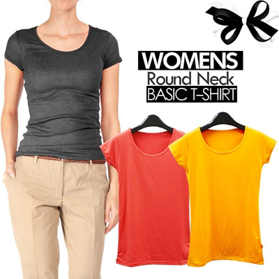 KOREAN BASIC T-Shirt_5Style with many colors_O-neck/V-neck/Long sleeve_High Quality Material_Basic T