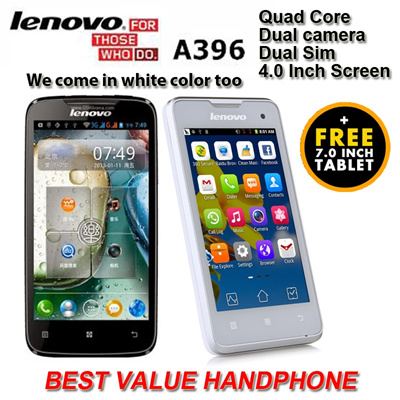 [LENOVO] A396 Quad Core 3G SmartPhone | 4.0 inch Capacitive Screen | Dual Camera | Dual SIM | 3G + WiFi | Playstore Preload|FREE 7 inch HD tablet!!!