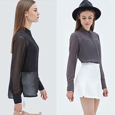[FVR 36] NEW ARRIVAL! CHIFFON BRANDED BLOUSE AVAILABLE IN 2 COLOURS! CASUAL OR OFFICE WEAR!