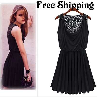 2014 European temperament back hollow lace sleeveless dress