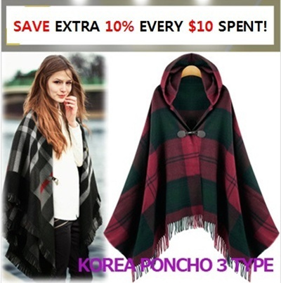 ★GET EXTRA 20% OFF STOREWIDE For Every $20 Spent! ★[Price Going Up Soon!] Get 10% OFF for Every $10 Purchase★[Free-Shipping] ▶poncho 7-type update! Zipper buckle hood◀ ▶Check-pattern soft material◀ ▶i