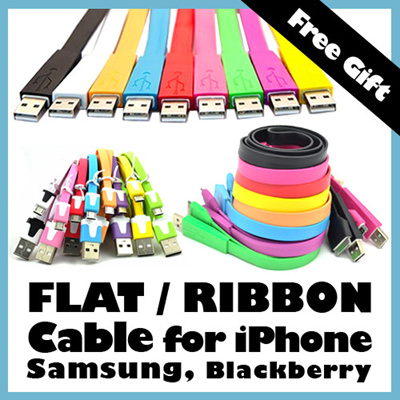 [Free Gift] Flat/Ribbon Cables Samsung iPhone MicroUSB iPad Plug Galaxy S2 S3 Siii Note Blackberry