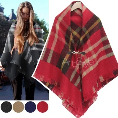 ★Free shipping★ Check Buckle Poncho_211994 women fashion women clothing