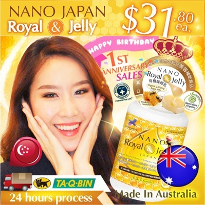 [NANO-Qoo10 1ST ANNIVERSARY SALES!!!]LOOK 10YRS YOUNGER! ★AWESOME BEAUTY BOOSTER★ NANO ROYAL JELLY • MAXIMIZE COLLAGEN 3X INSTANTLY! •  2200mg HDA-10 • Organic Certified ♥ Made In Australia