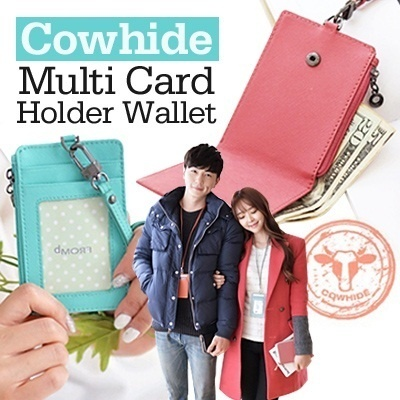 [New Arrival]Honey Lemon Cowhide Zip Card Holder ID Window/Zip/Bill Slot Genuine Saffiano Leather Wallet/Purse Bag for Everyone Women/Lady/Men Stylish Korean Design